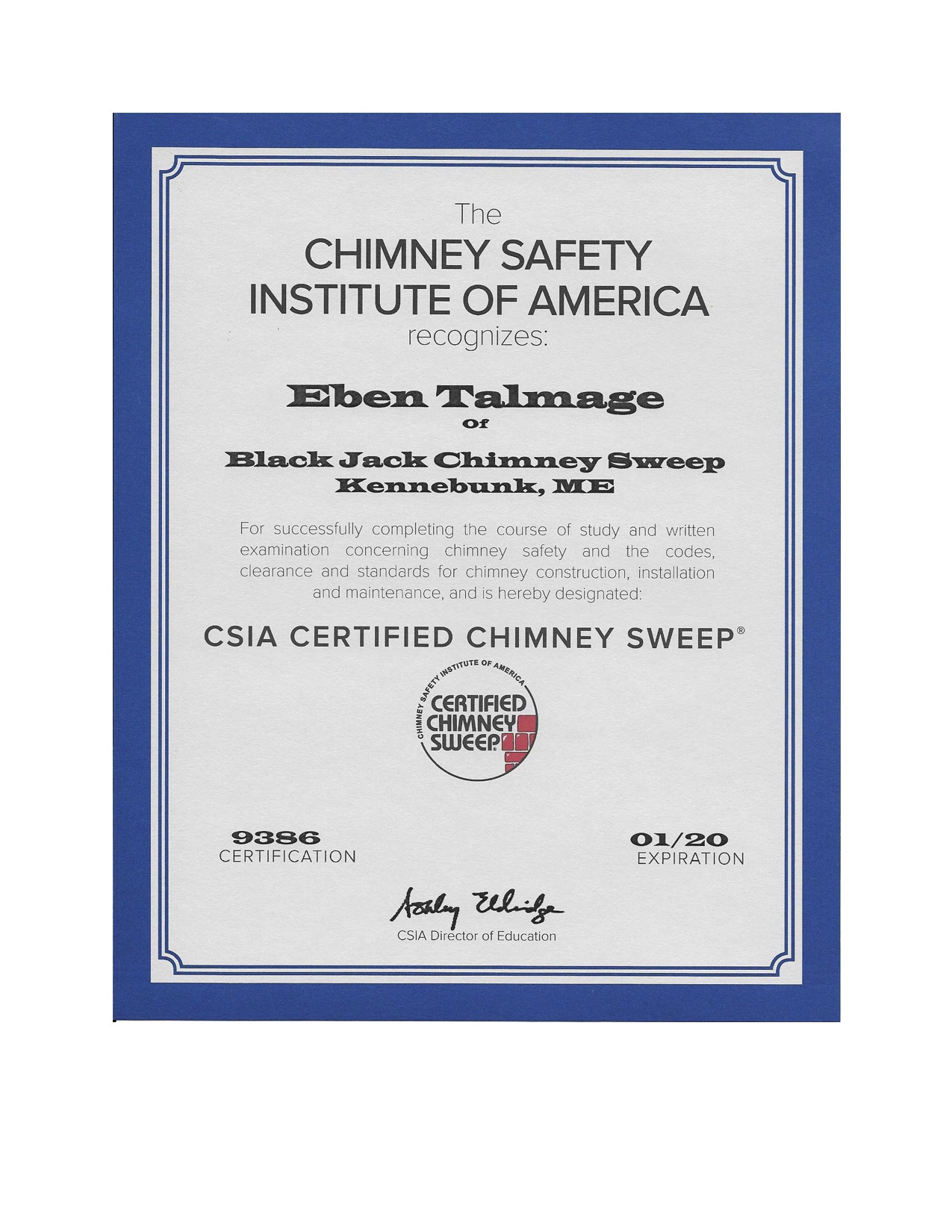 Certifications Black Jack Chimney Sweep